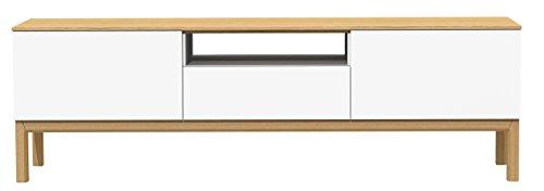 TENZO 2273-454 Patch Banc TV avec Tiroir/2 Portes Panneaux de Particules/MDF Blanc/Chêne 179 x 47 x 56 cm