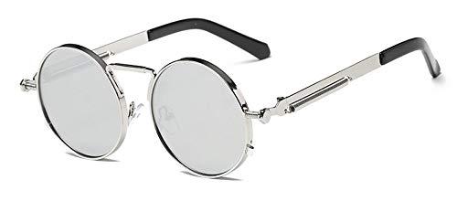 TYJYY Sunglasses Vintage Runde Sonnenbrille Männer Retro Steampunk Sonnenbrille Beschichtung Spiegel Runde Kreis Objektiv Sonnenbrille Spezielle Beine Brille Uv400