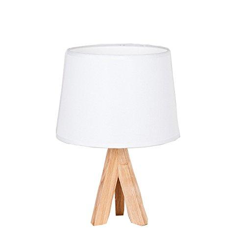 Tischlampe Modern Minimalistischen Holz Stoff Lampe Bett Zimmer Studie Office,White-S (Modernen Natur-holz-bett)