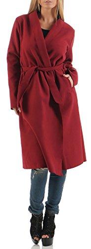 malito Damen Mantel lang mit Wasserfall-Schnitt   Trenchcoat mit Gürtel   weicher Dufflecoat   Parka �?Jacke 3050 Bordeaux