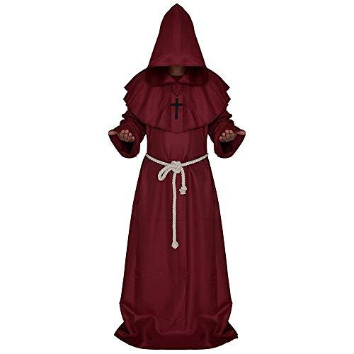 Kaxich Mönchskutte Kostüm Halloween Karneval Fasching Medieval Mönch Kostüm Prister Umhang Robe Cape mit Kapuze