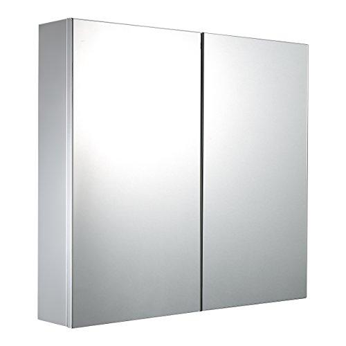 Mari Home - Armario doble para baño de acero inoxidable con puertas de espejo, 600 x 120 x 550 mm