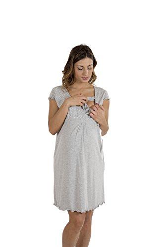 Premamy - Damen Stillnachthemd - Farbe: Grau Grau