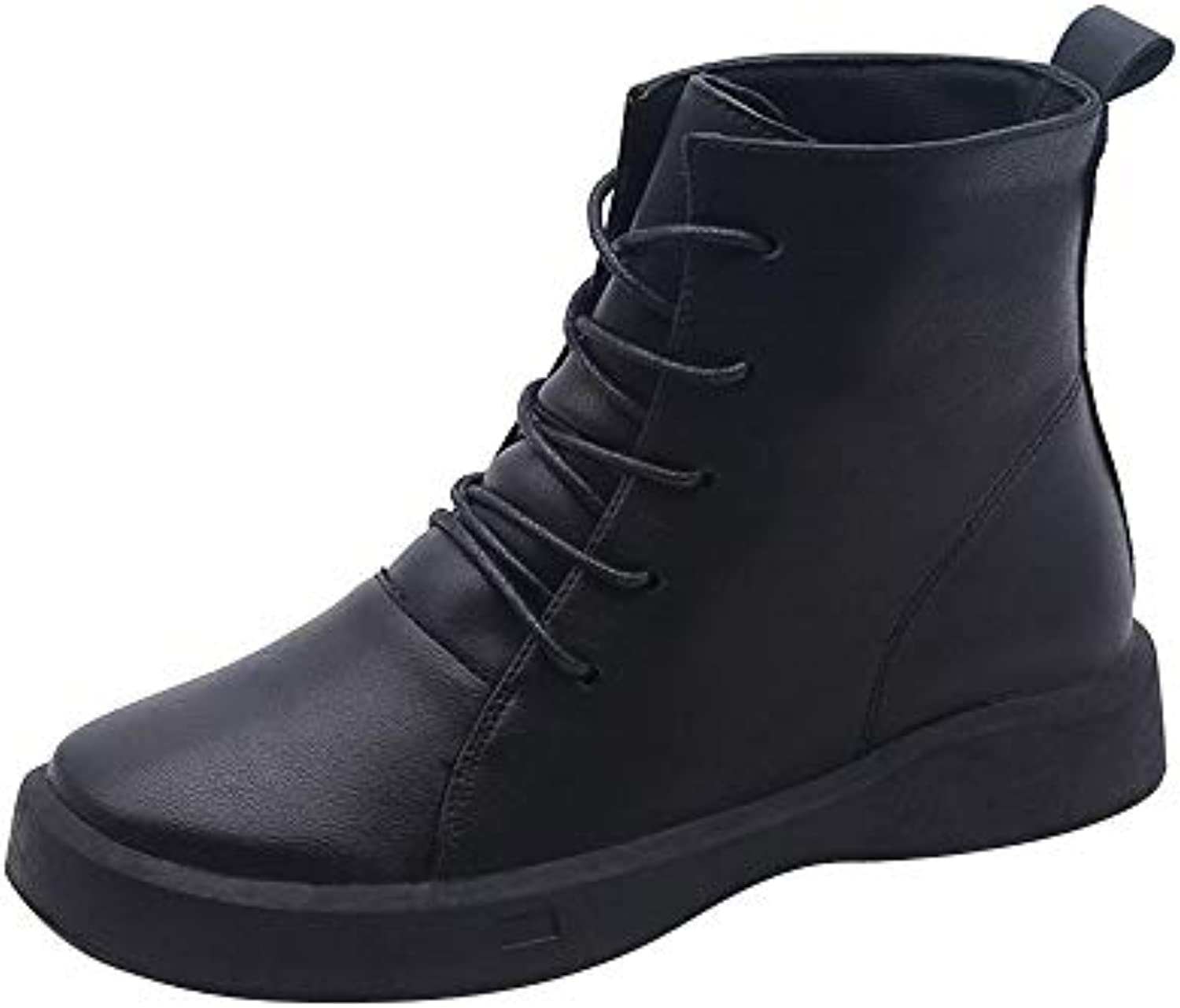 Rawdah Winter Women's High Flat Non-Slip Round Toe Low Cylinder High Women's Help Martin Boots Ladies Faux Leather Mid Cuff... a75b46