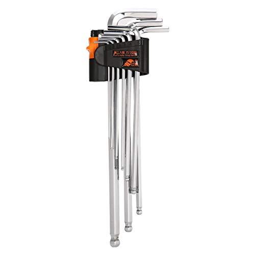 LouiseEvel215 9 Stücke L Form Langen Arm Kugelschreiber Inbusschlüssel Stahlspiegel Doppelschlüssel Set Drehmomentschlüssel Reparatur Werkzeuge Schraubenschlüssel Set -