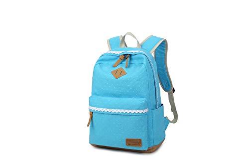 Mädchen Rucksack KHDZ Schulranzen Segeltuch Alltagtasche mit Punkten Spitzen 7 Fächern Groß für 15,6 Zoll Laptop perfekt für Freizeit Schule Reise EINWEG (Hellblau)