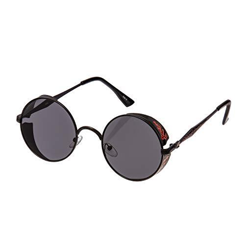 Ultra Schwarz Steampunk Sonnenbrille Retro Damen Herren Rund Rave Gothic Vintage Victorian Kupfer Cosplay UV400 Schutz Metall Unisex Kreisbrille