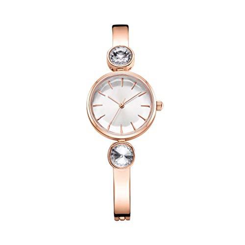 XINGUANG Fashion Watch Creative Damenuhr Atmospheric Trend Quarzuhr Double Diamond Watch Multi-Color Optional (Farbe : Golden White Plate)