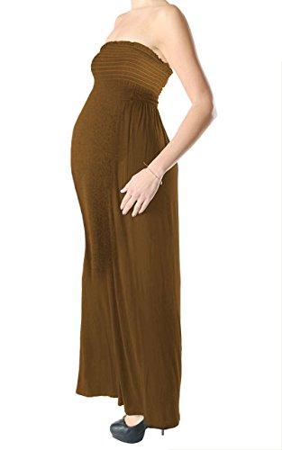 Ladies Jersey Maternity Bandeau Boobtube Sheering Maxi Kleid EUR Größe 36-54 Braun