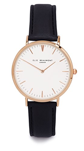 Reloj analógico con mecanismo de cuarzo para mujer, con esfera blanca y correa de cuero napa en color negro (EB805G), de Elie Beaumont