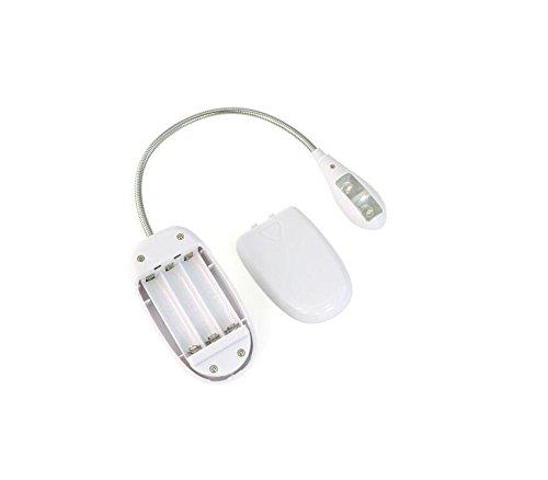 Camac Dimmbare zwei LED-Augenpflege Leselampe , LED-Buch-Licht, super helle Musik-Standplatz Licht, Buch-Leselicht , USB und Batterie betrieben, Clip auf und tragbare Leuchten für Klavier, Reisen, E-Reader, Bett Kopfteil (Single-Arm), Weiß - 3