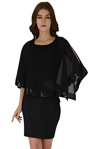 YMING Damen Businesskleid Patchwork Sommerkleid Minikleid Tunika,Schwarz,M/DE 38-40