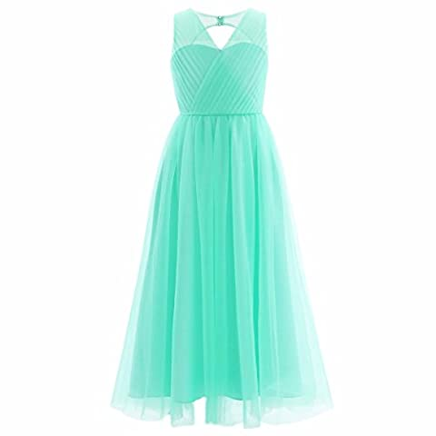 FEESHOW Girl's Cutout Back Mesh Flower Dress Junior Bridesmaid Long Dresses Party Prom Ball Gowns Turquoise 9-10 Years