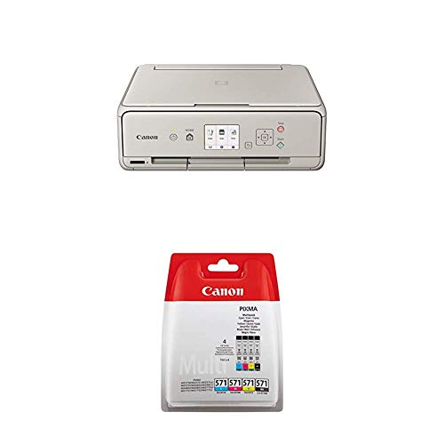 Canon PIXMA TS5053 Farbtintenstrahl-Multifunktionsgerät (Drucken, Scannen, Kopieren, 5 separate Tinten, WLAN, Print App, 4.800 x 1.200 dpi) grau +  Druckerpatrone Multipack