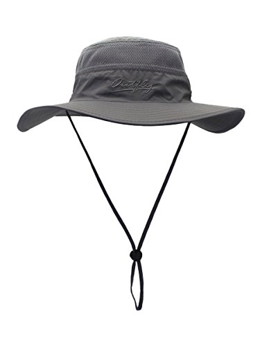 Outfly Damen Herren Outdoor Bucket Hut Fischer Hut Buschhut Atmungsaktiv Schnelltrocknend Sonnenschutz - für Kopfumfang 55-60 cm Dunkelgrau