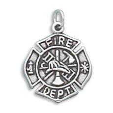 Firefighter Maltese Cross Charm 925 Sterling Silver