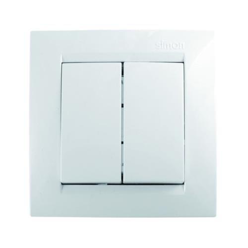 Simon F1590397030 Conmutador Doble Serie 15 Blanco