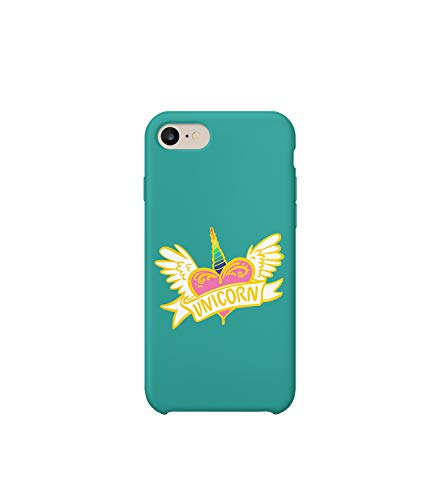 GlamourLab Unicorn Flying Heart Love Angel_R4884 Protective Case Cover Hard Plastic Compatible with for iPhone 8 Plus Funny Gift Christmas Birthday Novelty -