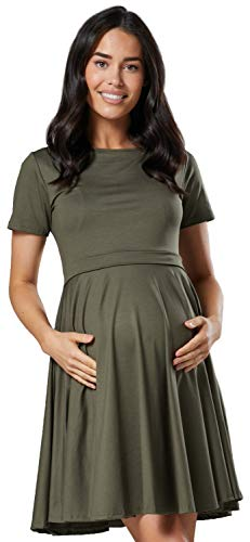 Happy Mama. Damen Umstands Stillkleid Midi Schaukel Kleid Kurzarm.084p (Khaki, EU 42, XL) -