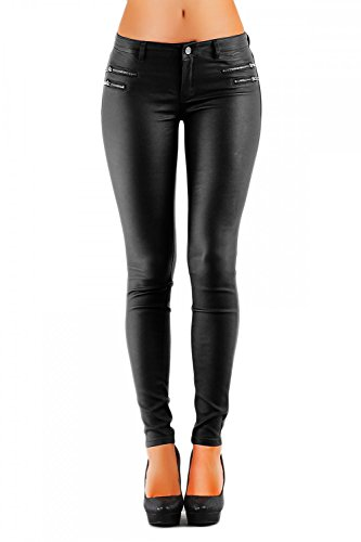 Damen Jeans Hose Hüfthose Lederimitat Kunstlederhose Skinny (No:323), Grösse:42, Farbe:Schwarz (Petite Jeans Gefüttert)