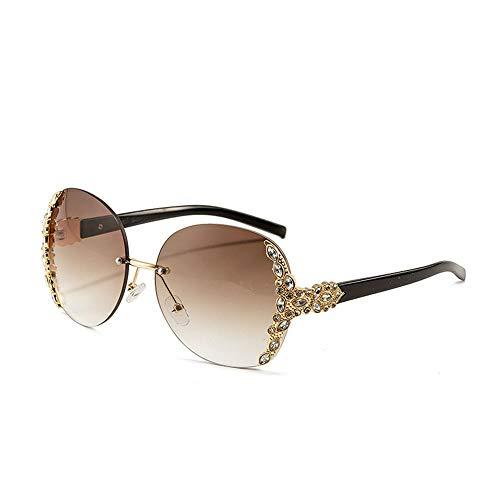 Honneury Metall Schmuckrahmen SonnenbrillenTrendy Stilvolle Sonnenbrillen für Frauen (Farbe : Braun)