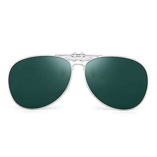 Retro Clip auf Flieger Sonnenbrillen Polarisiert Flip up Linsen Fahren Brille Herren(Silber/Polarisiertes Grün)