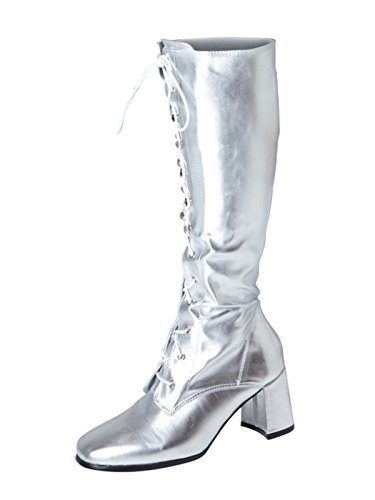 Knee High Silver Go-Go Boots with Eyelets. Many other colours available. Sizes 3 to 11.