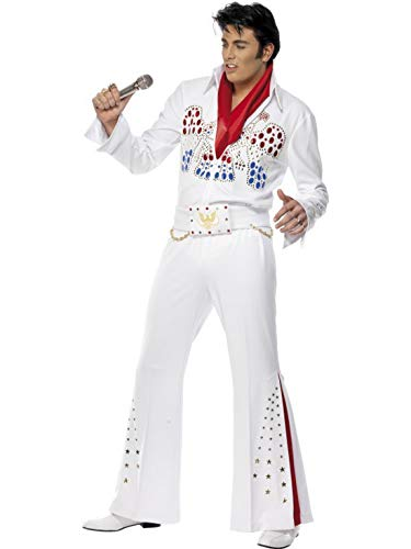 Eagle Mann Kostüm - Luxuspiraten - Herren Männer Elvis American Eagle Kostüm mit paillettenbesetztem Overall Einteiler, Gürtel und Halstuch, perfekt für Karneval, Fasching und Fastnacht, M, Weiß