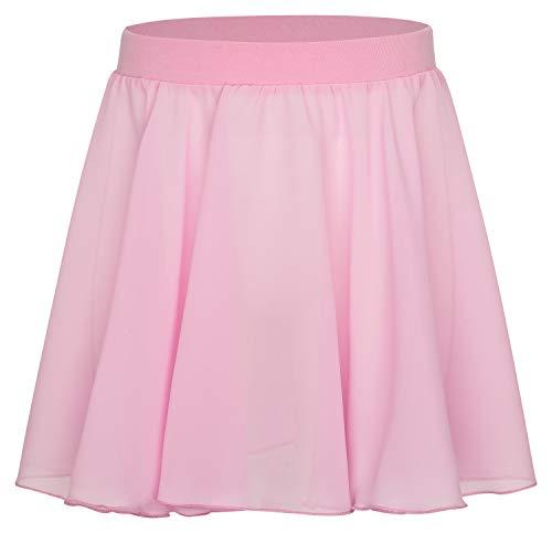 tanzmuster Kinder Ballettrock Eva zum Reinschlüpfen aus Baumwolle und Chiffon in rosa, Größe:140/146 Eva Rock