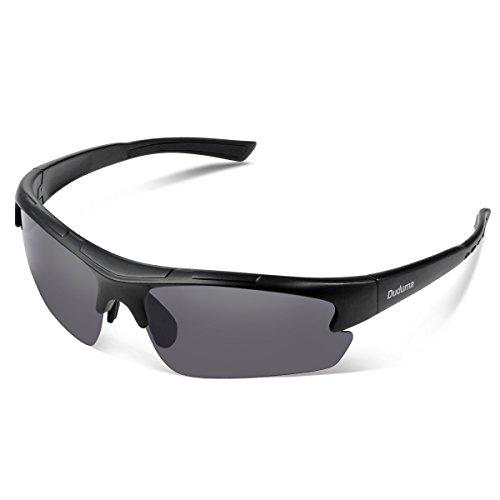 Duduma Polarisierter Sport Herren Sonnenbrille für Skifahren Golf Laufen Radsport Tr62 Superleichtes Rahmendesign für Herren und Damen (Schwarz Matt Rahmen mit Schwarz Linse)