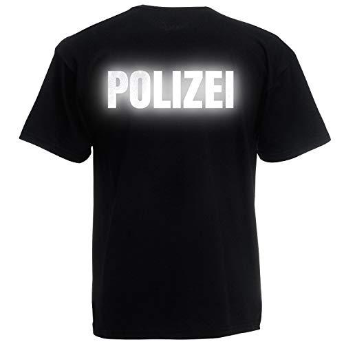 Shirt-Panda Herren Polizei T-Shirt - Druck Beidseitig Brust & Rücken Reflex Schwarz (Druck Reflex) 4XL