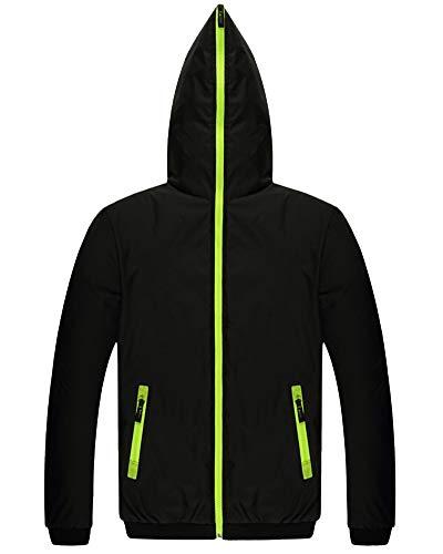 Anyua cappotto da uomo giacca imbottita sportiva manica lunga giubbini da lavoro nero verde xl