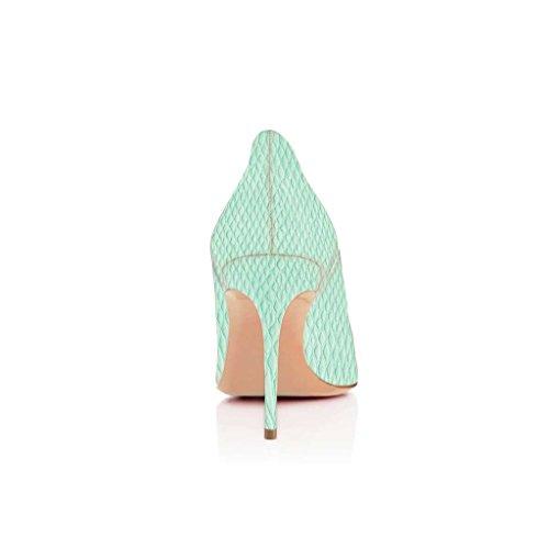 SHOFOO - Femmes - Escarpins - Cuir synthétique - Motif à fleurs - Plusieurs coloris - Talon aiguille - Bout pointu Vert