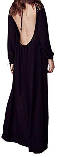 erdbeerloft - Damen Rückenfreies Maxikleid mit Spitzendetails, 34-42, Viele Farben Schwarz