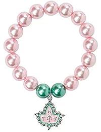 1f5e9b57df06 Ochoos - Pulsera elástica de perlas griegas AKA de color rosa y verde