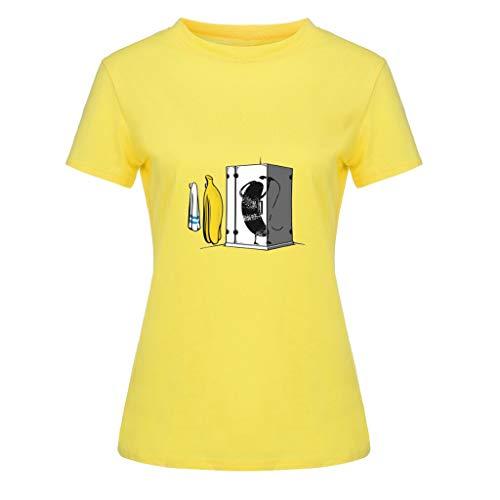 Ärmelloses Baby-doll-tee (Bellelove Frauen Shirt Rundhals Kurzarm Tee Niedlicher Cartoon Drucken Tops Sommer Einfach Lässig Top Absorption Atmungsaktives T-Shirt Mehrfarbig)