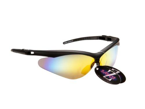 Rayzor Professionelle Leichte UV400 Schwarz Sports Wrap Schifahren Sonnenbrille, mit Gold Iridium Mirrored Blend Lens.