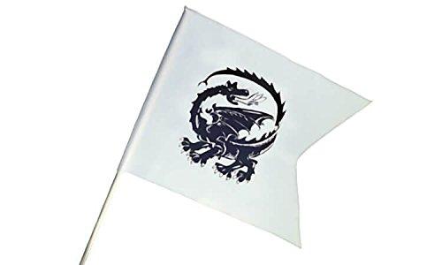 Ritterfahne 58x43cm Drache weiß inkl. Stab Fahne Flagge