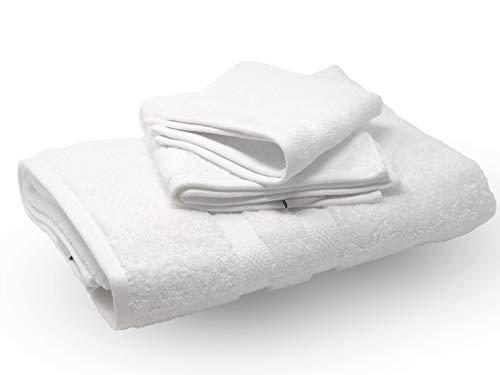 Trove Linens Rollana Luxe Collection 3-teiliges Handtuch-Set (inkl. Badetuch, Handtuch und Waschlappen), 100% ägyptische Baumwolle, Hotel- und Spa-Qualität, Weiß - Luxe Baumwolle Collection