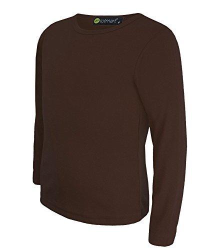 lotmart Kinder Mädchen Jungen Uni Basic Top Lange Ärmel T-Shirt Tops Crew Uniform Tee und gratis Geschenk lotmart Werbe Pen mit jeder Paket,Dunkelbraun - 13-14 Years Jungen Uniformen