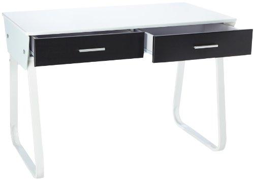 Buerostuhl24 673600 Desk Mira White High Gloss Front Black