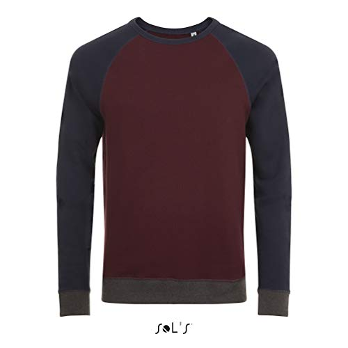 SOL'S Sandro – Sweat Mixte Premium - Tricolore à col Rond - Look Vintage - Manches Longues raglantes - Oxblood/French Marine - M