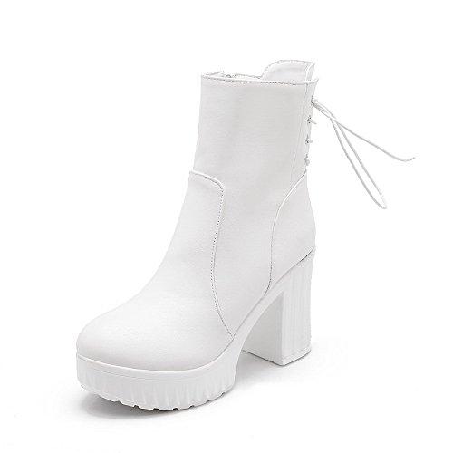 AgooLar Damen Rund Zehe Mitte-Spitze Hoher Absatz Reißverschluss Pu Leder Stiefel Weiß