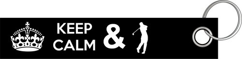 Preisvergleich Produktbild Keep calm and play Golf Golfen Golfer Golfschläger Schlüsselanhänger Schlüsselband Keyholder Lanyard