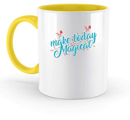 SPIRITSHIRTSHOP Make Today Magical, Mache Den Heutigen Tag Magisch - Magie, Wunder, Kraft, Energie, Freude - Zweifarbige Tasse -330ml-Gelb