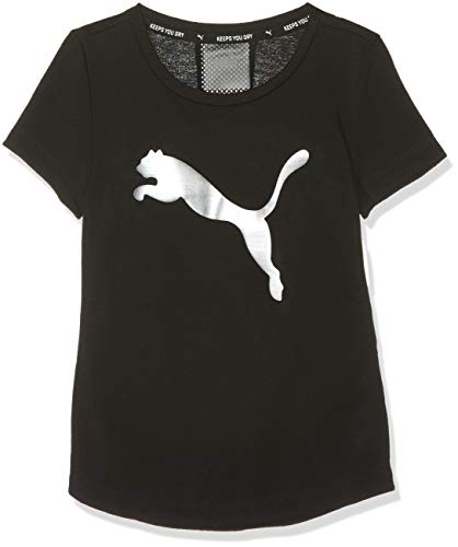 PUMA Mädchen Active Sports Tee G T Shirt Black-Metallic Silver, 164