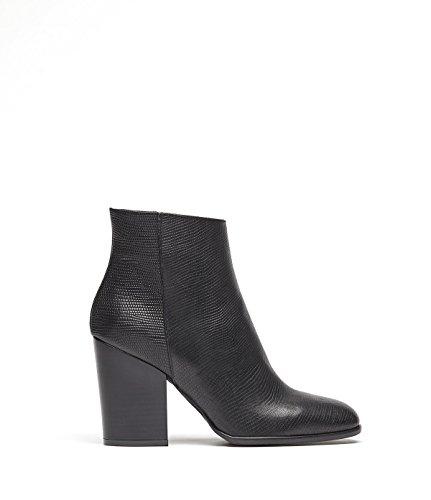 PoiLei Sole - Damen-Schuhe / Cowboy-Stiefeletten im Western-Style aus Echt-Leder - Ankle-Boot mit mittel hohem Block-Absatz und spitz-zulaufend - schwarz