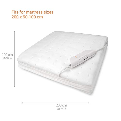 Medisana HU 662 Calientacamas,  150 x 80 cm,  desconexión automática,  6 niveles de temperatura,  lavable,  calefacción de colchón adecuada para todos los colchones comunes