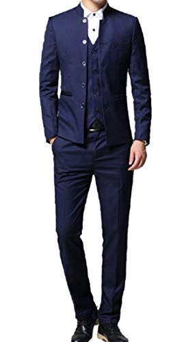 CuteRose Men's Suit Blazer Jacket Tux Vest & Trousers 3-Piece Set Blue 2XL