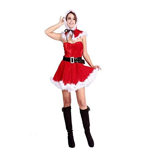 Schnee Kostüm Engel - CVCCV sexuelle Liebe Uniformen Nette Spitze Schnee Flanell Damen Weihnachtskleidung Polyester Stoff (rot)